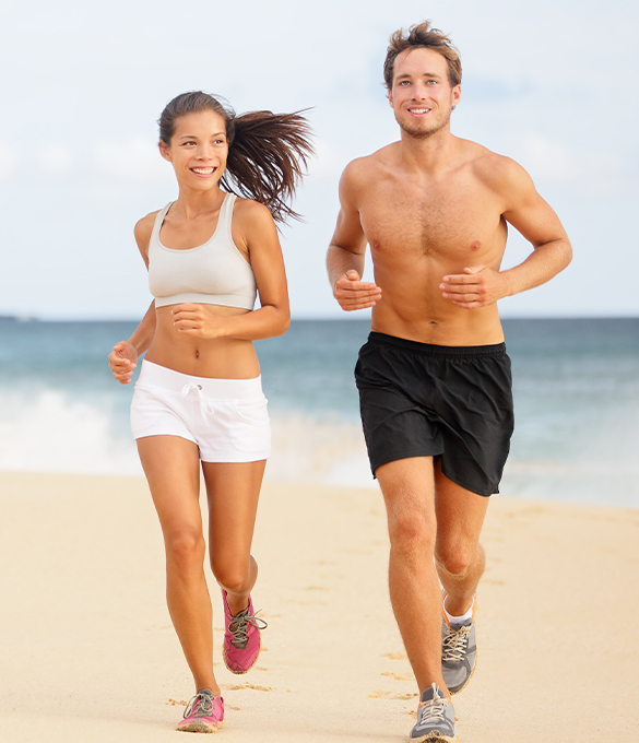 man and woman running exercising