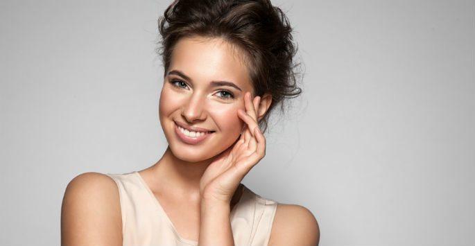 model smiling