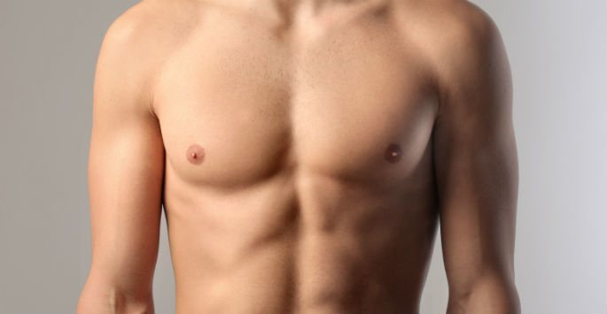 male model showing chest
