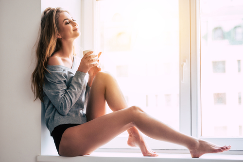 model sitting relaxing